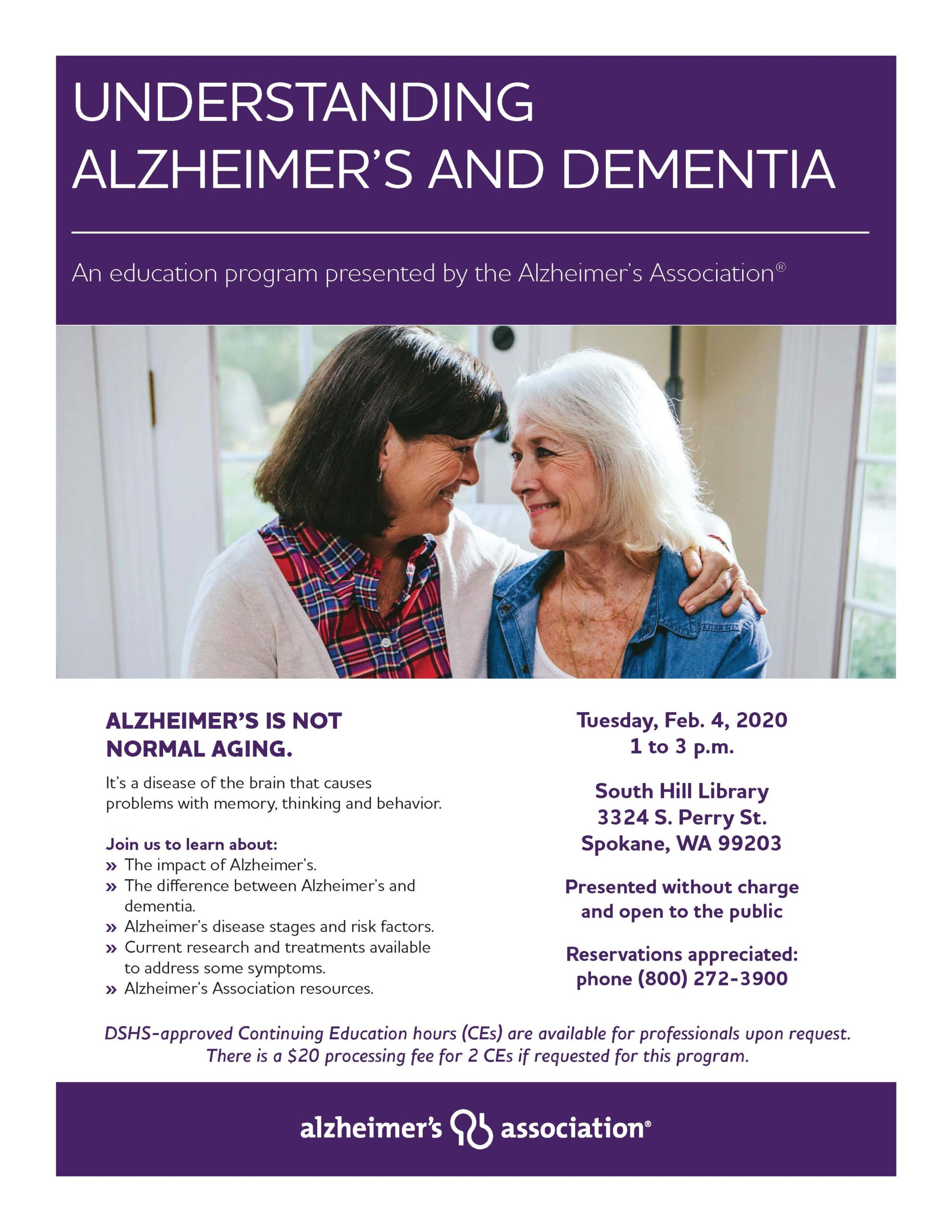 Understanding Alzheimer's and Dementia Presentation Spokane